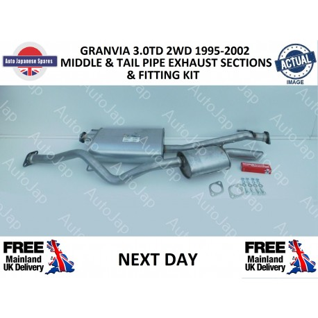 TOYOTA GRANVIA 1995 - 2002 3.0DT 2WD MIDDLE AND TAIL PIPE EXHAUST KIT